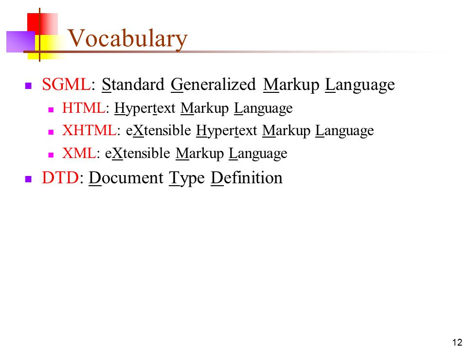 Vocabulary SGML: Standard Generalized Markup Language