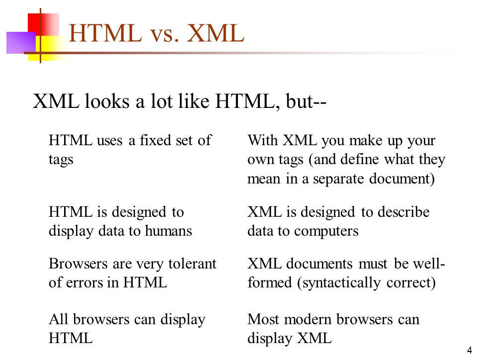 HTML vs. XML XML looks a lot like HTML, but--