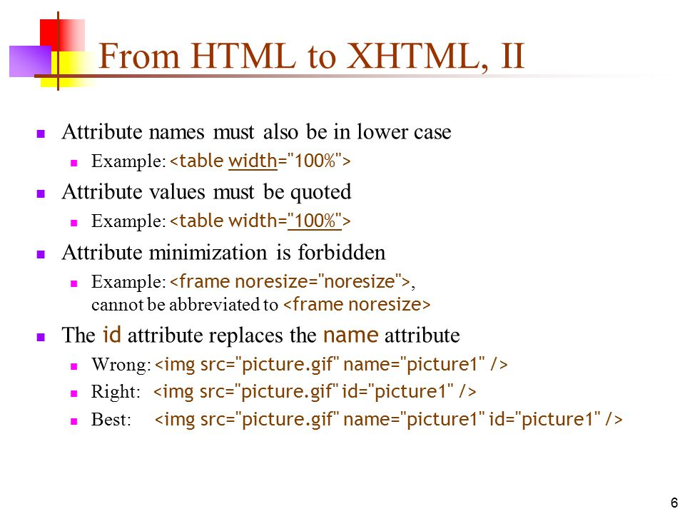 From HTML to XHTML, II Attribute names must also be in lower case