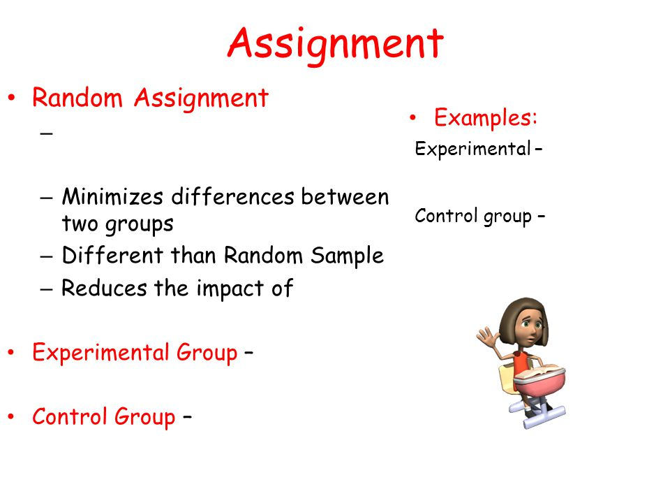 random sampling and random assignment Random sampling can be used in a variety of ways in order to include individuals in a group reviewing some random sampling examples can further explain this concept.