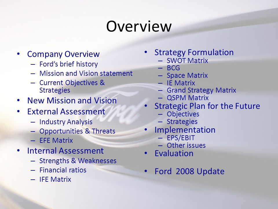 Hamill bassue owen hendershot goran nagradic ppt download for Ford motor company mission statement
