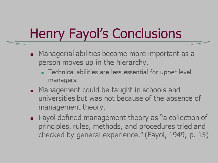 fayol's management theory is still relevant Description of managers however to fully appreciate and form an opinion on  whether fayol's theories remain important and relevant to part of the modern day .