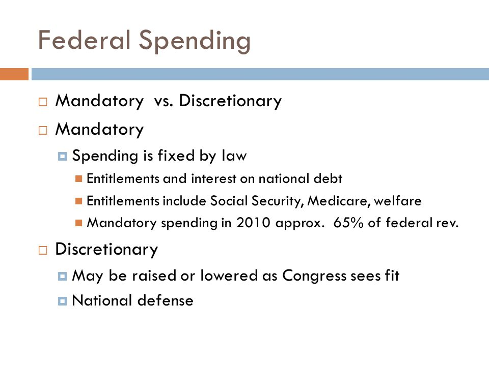 Federal Spending Mandatory vs. Discretionary Mandatory Discretionary