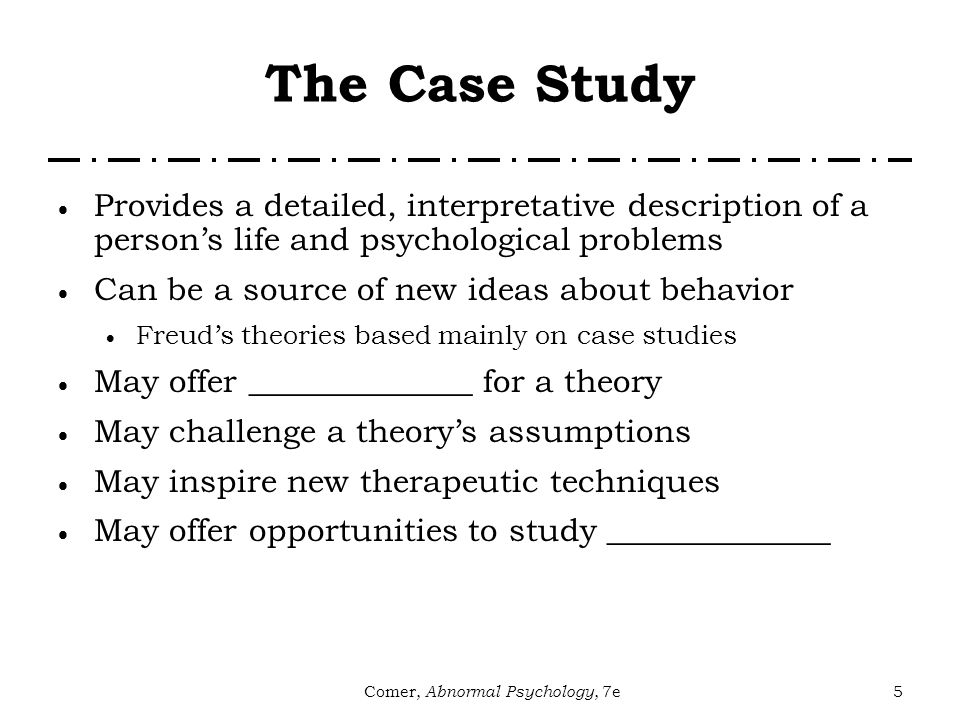 abnormal psychology case studies online A case-study assignment to teach theoretical perspectives in abnormal psychology david v perkins pages 97-99 | published online: 20 nov 2009 the assignment is personally meaningful for students, provides an excellent opportunity to integrate psychology with other liberal arts, and has received very positive.