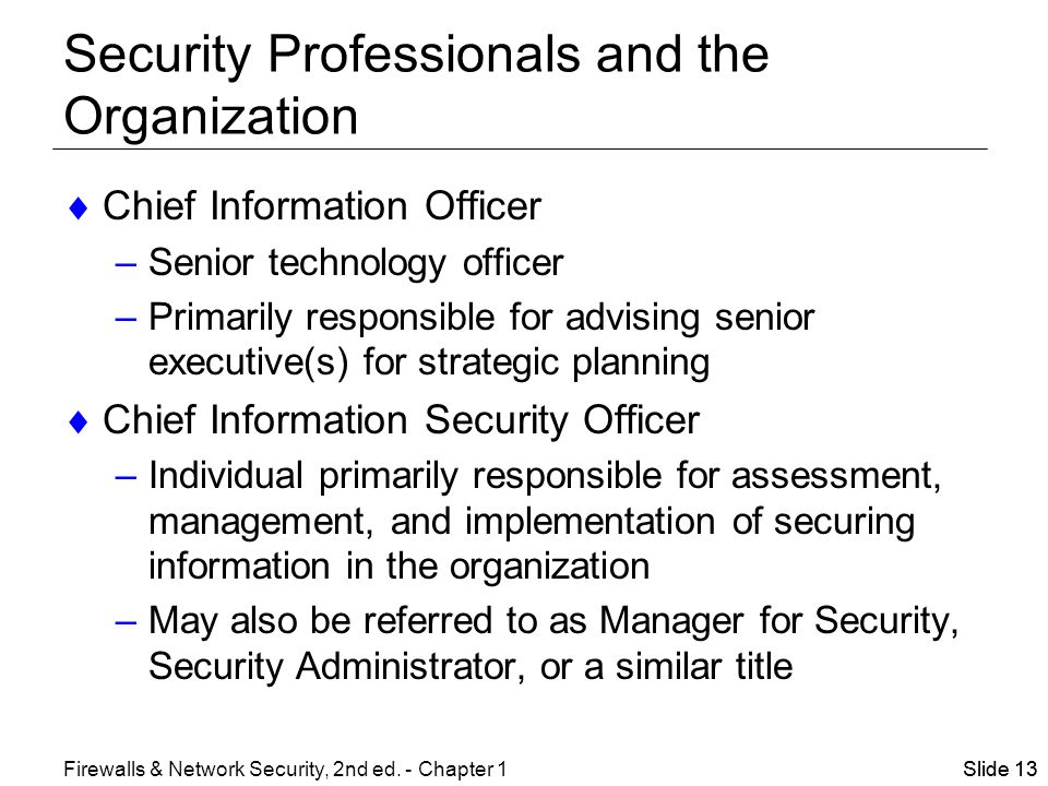 security professionals and the organization network security officer