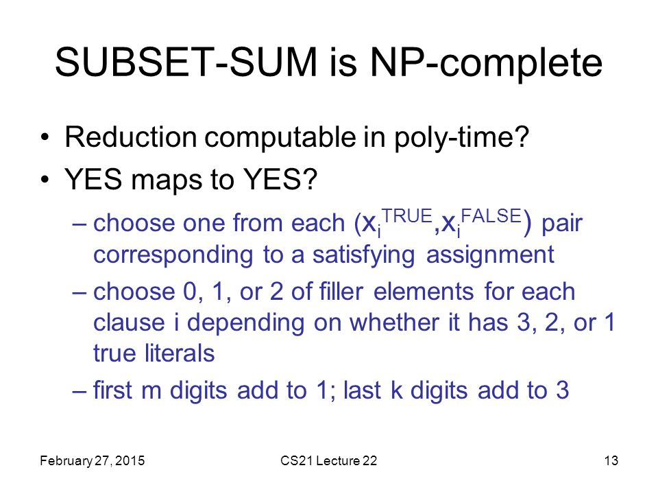 SUBSET-SUM is NP-complete