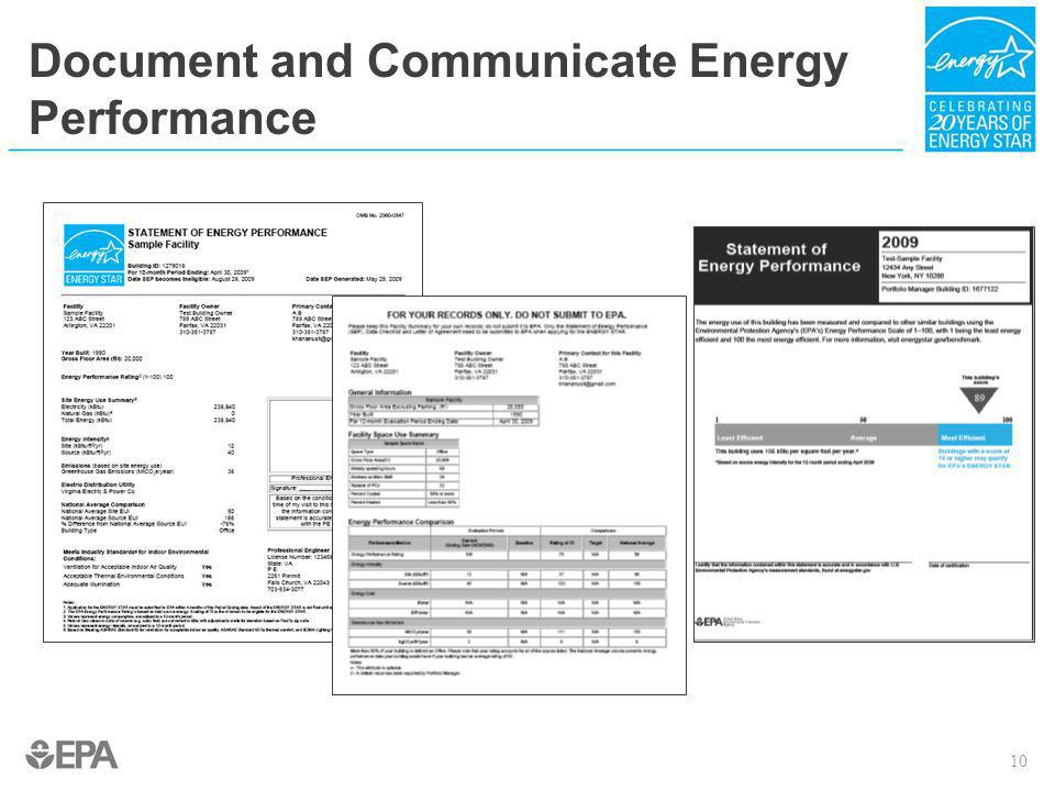Document and Communicate Energy Performance