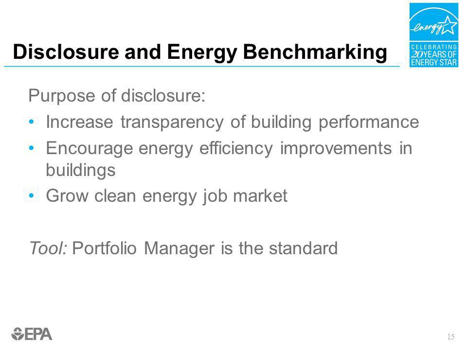 Disclosure and Energy Benchmarking