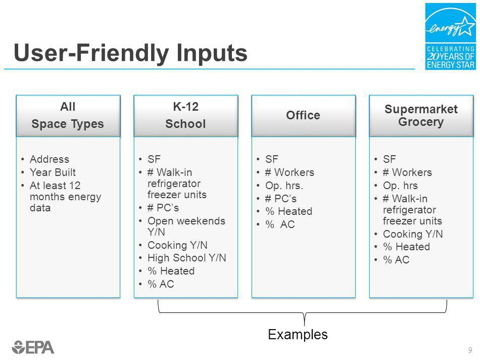 User-Friendly Inputs Examples All Space Types K-12 School Office