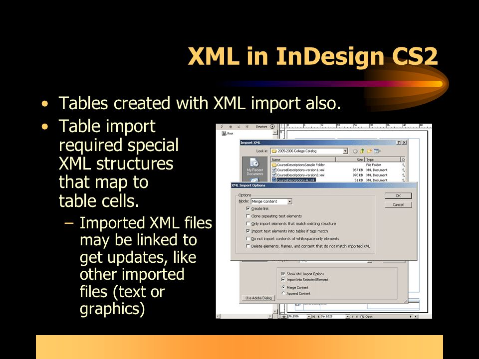 Publishing workflow for indesign import export of xml for Table design in xml