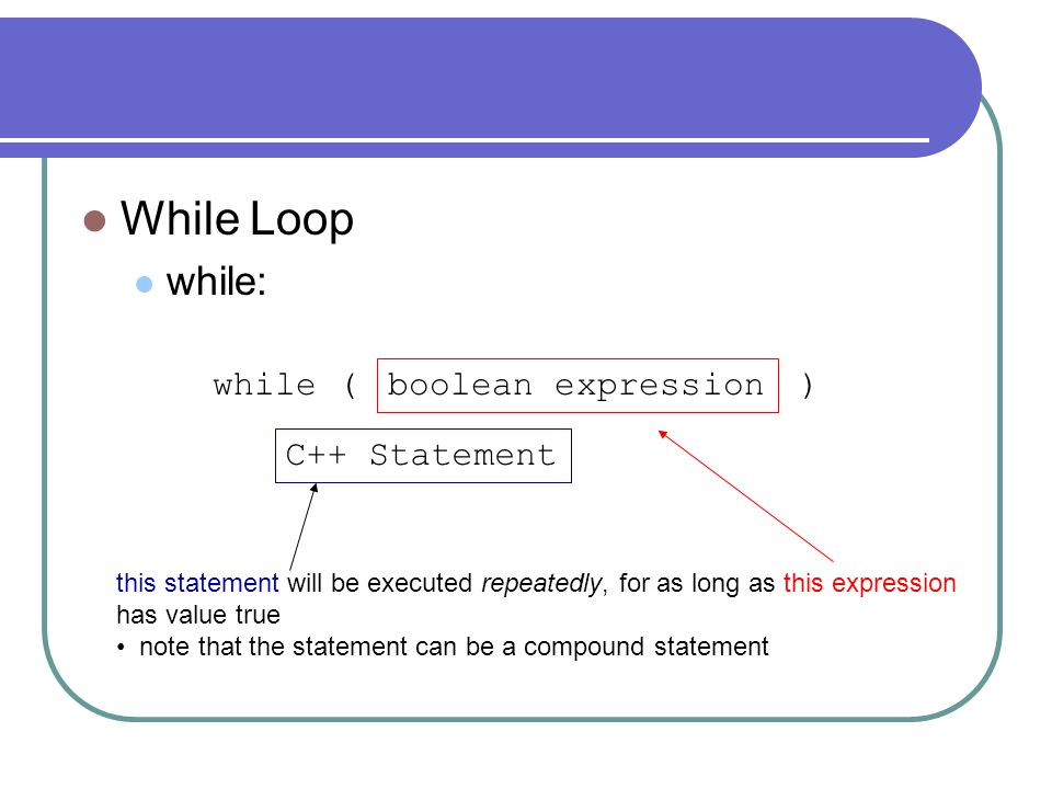While Loop while: while ( ) boolean expression C++ Statement