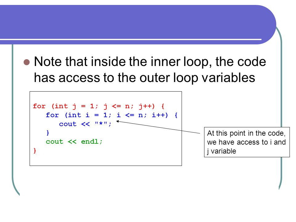 Note that inside the inner loop, the code has access to the outer loop variables