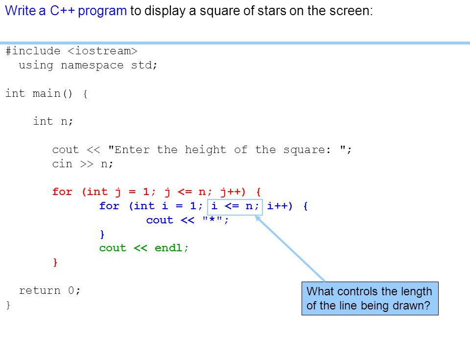 Write a C++ program to display a square of stars on the screen: