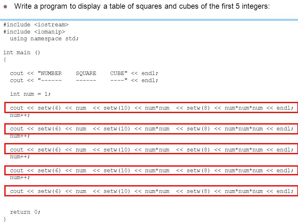 Write a program to display a table of squares and cubes of the first 5 integers:
