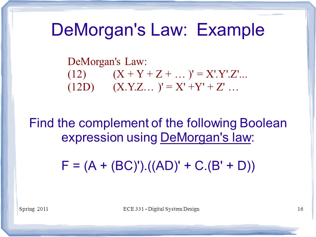 DeMorgan s Law: Example