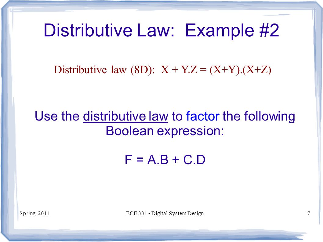 Distributive Law: Example #2