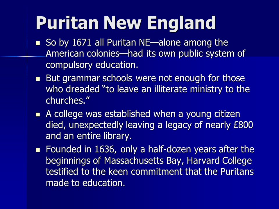 """the influence of puritans on new englands development """"in what ways did the ideas and values held by the puritans influence the political, economic, and social development of the new england colonies from 1630 through the 1660's."""