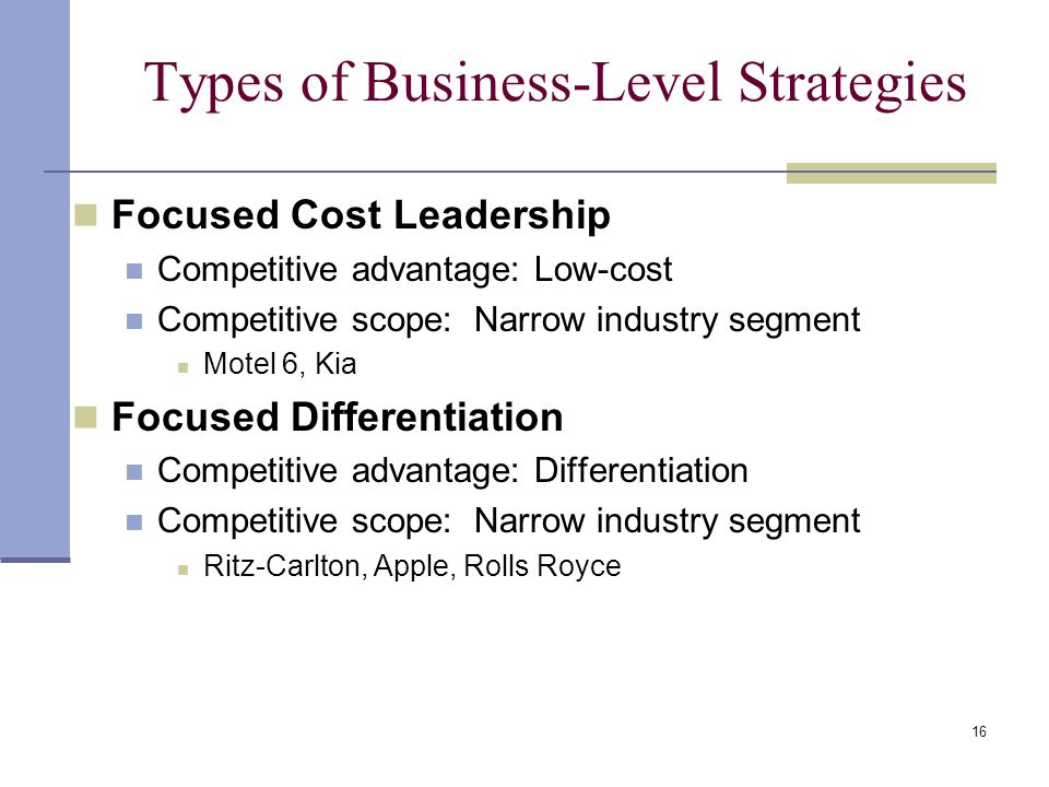 Types of Business-Level Strategies
