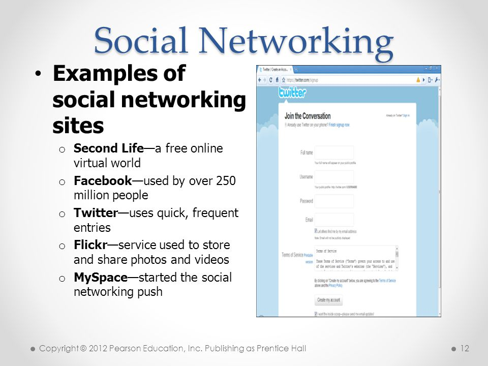 Social Networking Examples of social networking sites