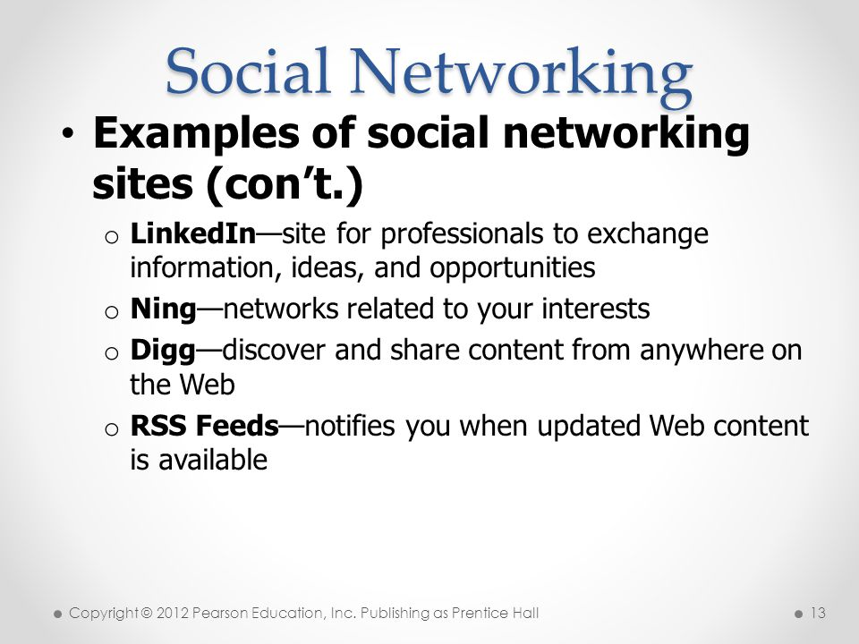 Social Networking Examples of social networking sites (con't.)
