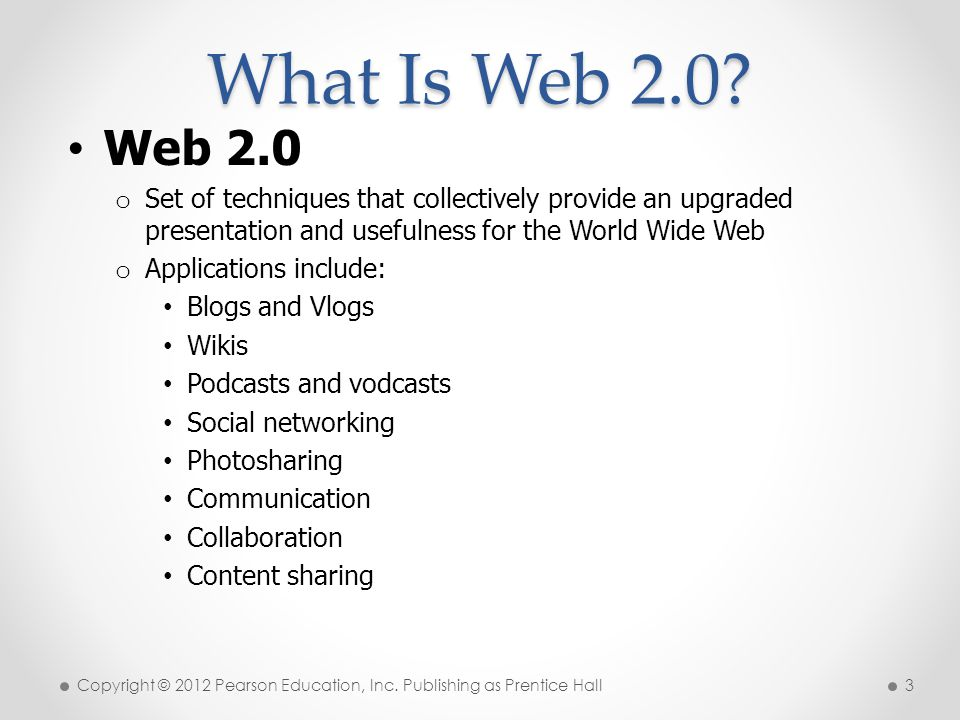 * What Is Web /16/96. Web 2.0. Set of techniques that collectively provide an upgraded presentation and usefulness for the World Wide Web.