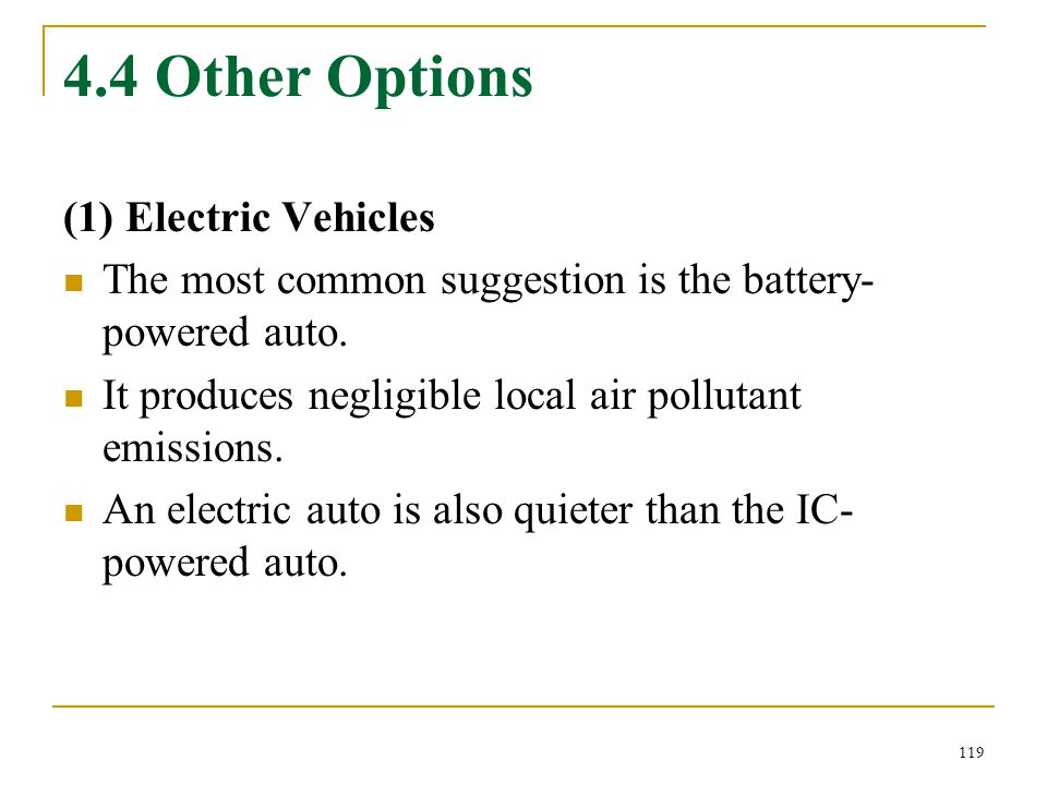 4.4 Other Options (1) Electric Vehicles