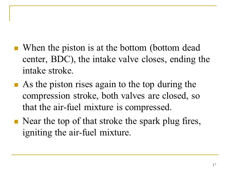 When the piston is at the bottom (bottom dead center, BDC), the intake valve closes, ending the intake stroke.