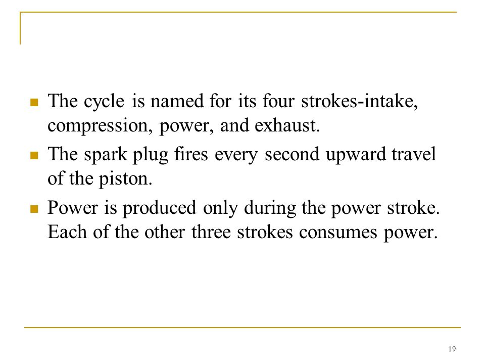 The cycle is named for its four strokes-intake, compression, power, and exhaust.