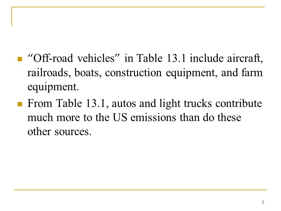Off-road vehicles in Table 13