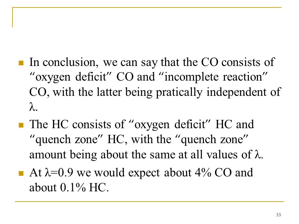 In conclusion, we can say that the CO consists of oxygen deficit CO and incomplete reaction CO, with the latter being pratically independent of λ.