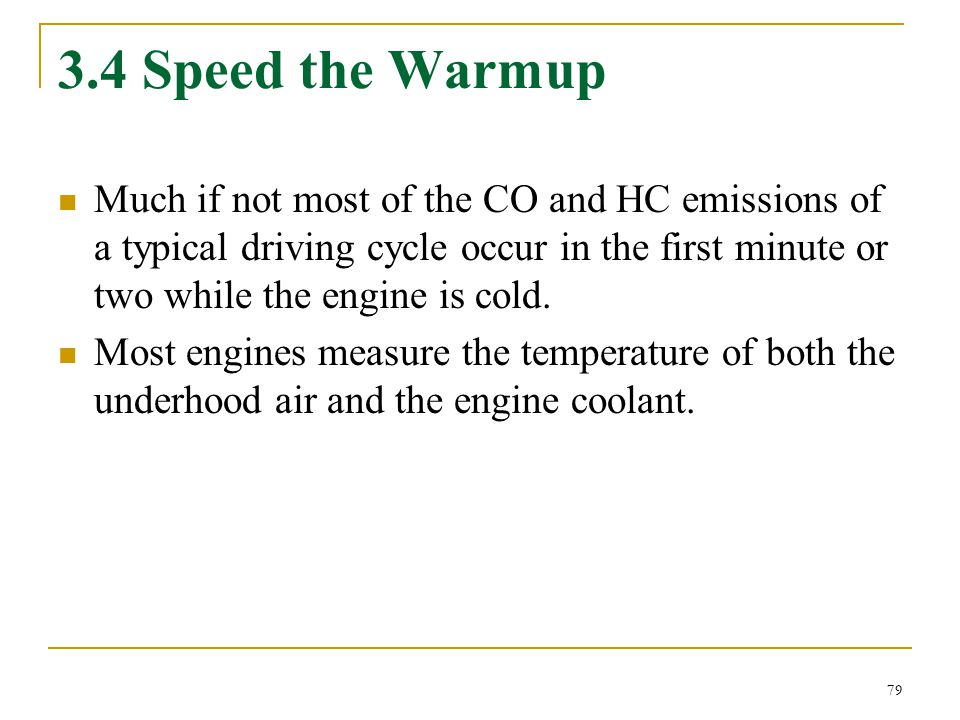 3.4 Speed the Warmup