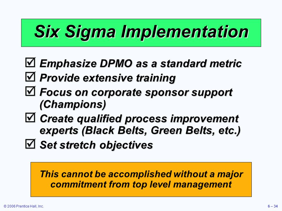six sigma and its implementation at Implementation of six sigma in dell is one of the prime and successful examples of a company using six sigma as an enabler to achieve successful results michael dell built a successful model using the lean six sigma which has emulated dell inc to a large extent.