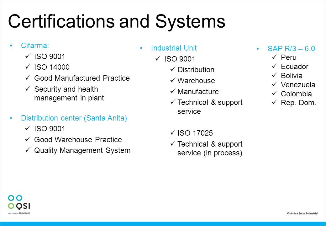 Certifications and Systems