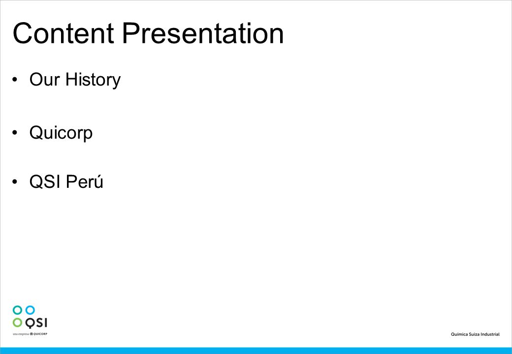 Content Presentation Our History Quicorp QSI Perú