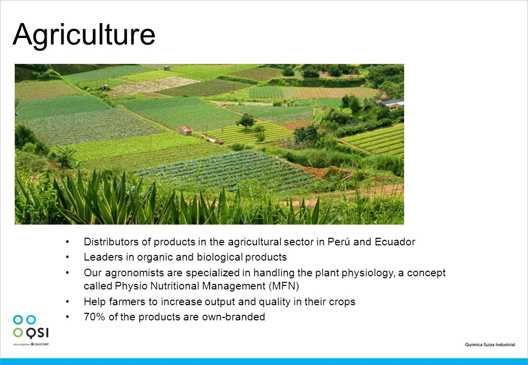 Agriculture Distributors of products in the agricultural sector in Perú and Ecuador. Leaders in organic and biological products.