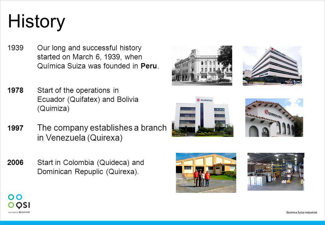 History 1939 Our long and successful history started on March 6, 1939, when Química Suiza was founded in Peru.
