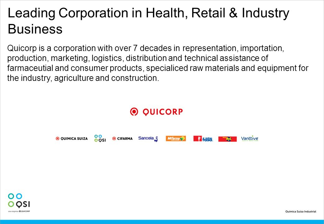 Leading Corporation in Health, Retail & Industry Business