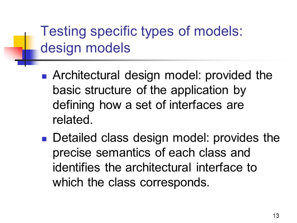 Testing specific types of models: design models