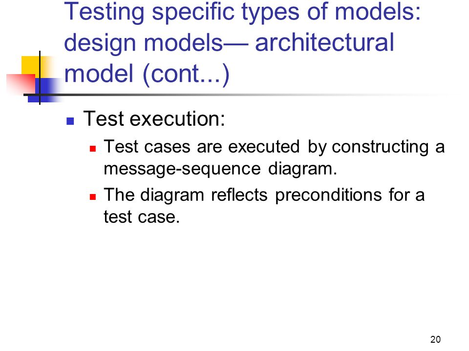 Testing specific types of models: design models— architectural model (cont...)