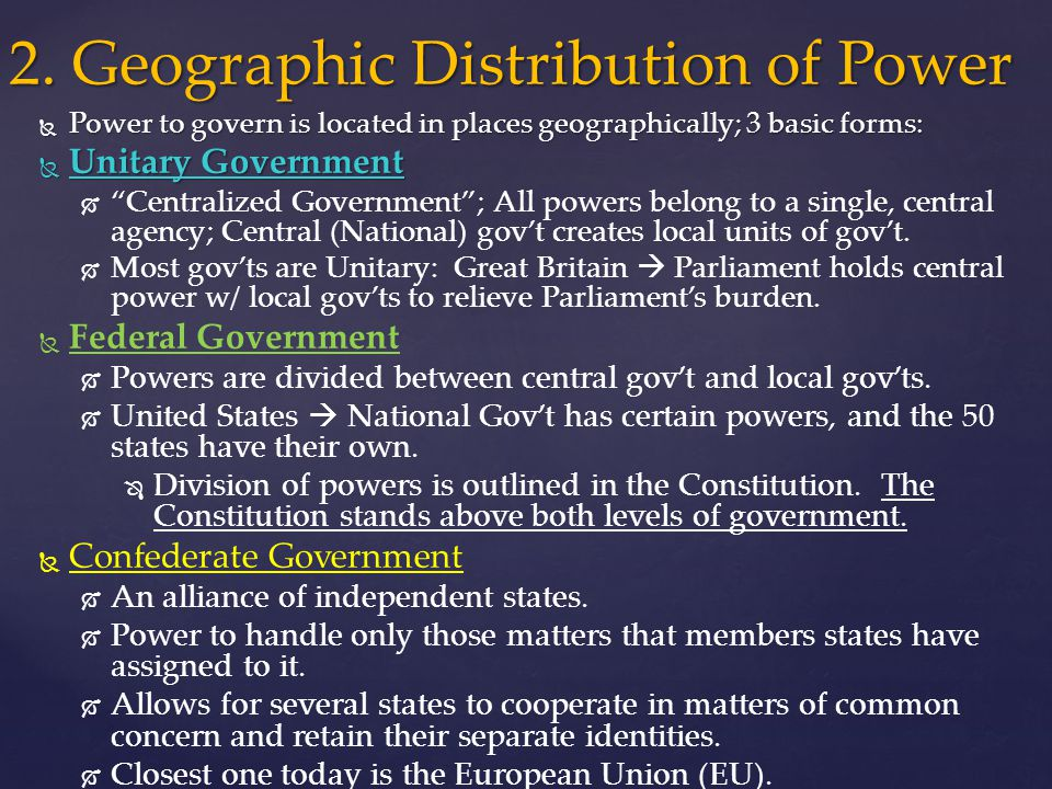 What Is the Distribution of Power in Government?