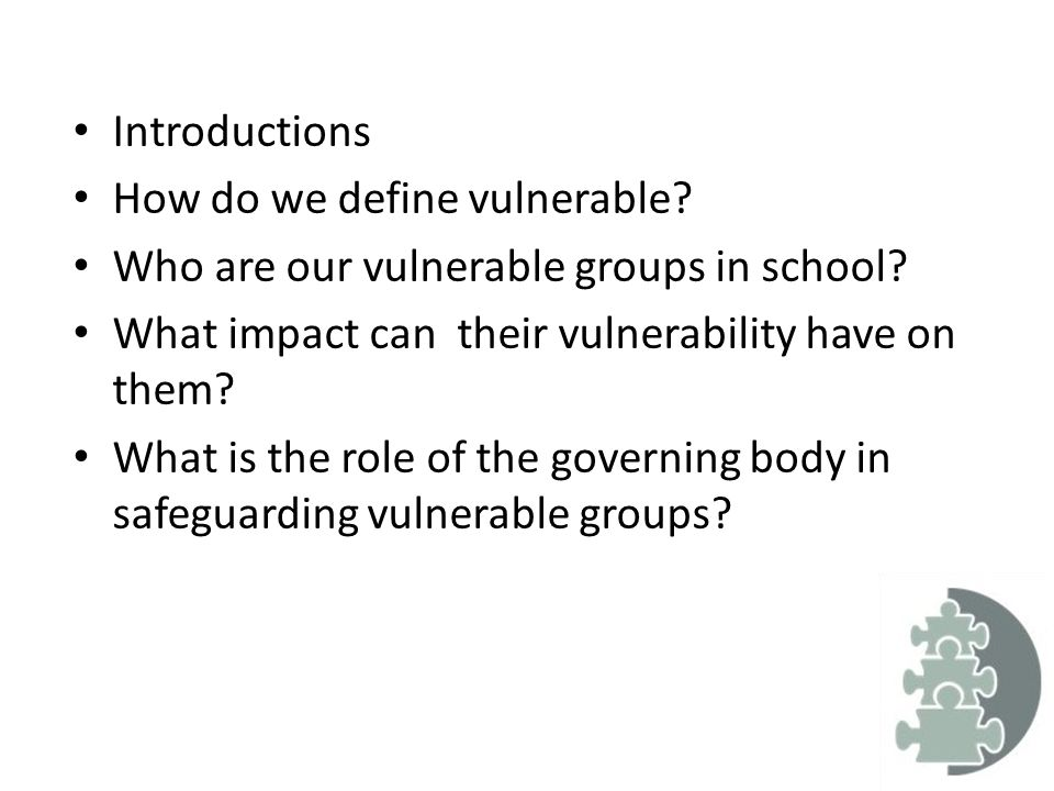 vulnerable group Few policies and guidelines explicitly defined vulnerability, instead relying on  implicit assumptions and the delineation of vulnerable groups.