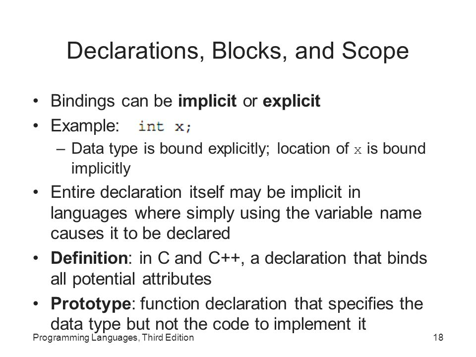 Declarations, Blocks, and Scope