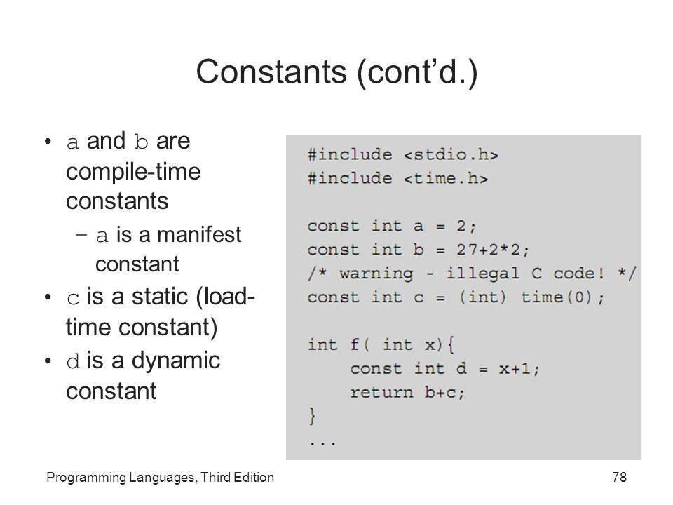 Constants (cont'd.) a and b are compile-time constants