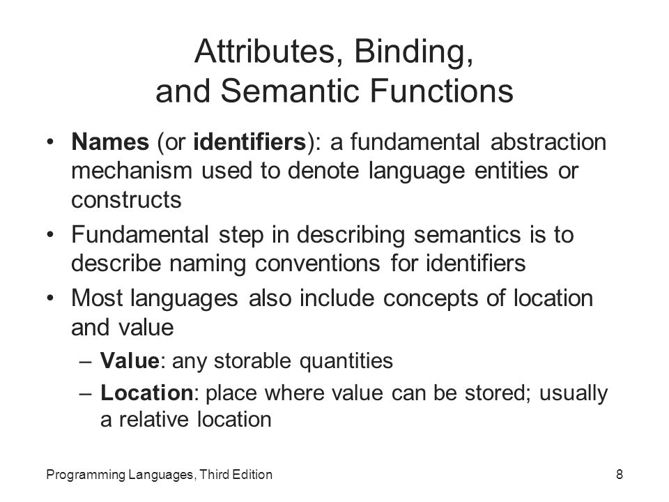 Attributes, Binding, and Semantic Functions