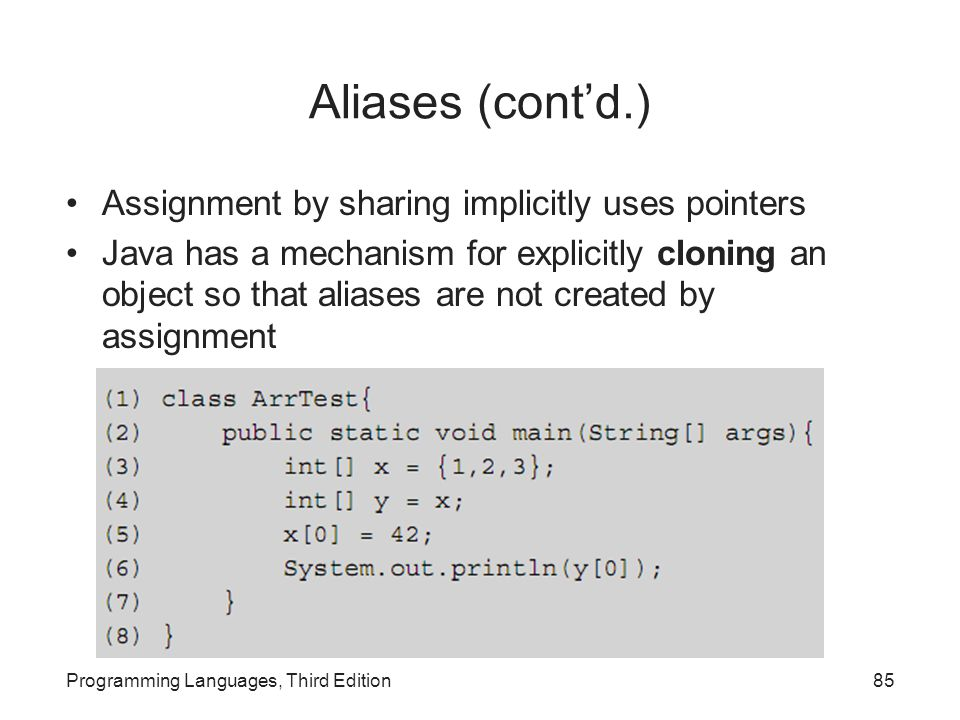Aliases (cont'd.) Assignment by sharing implicitly uses pointers