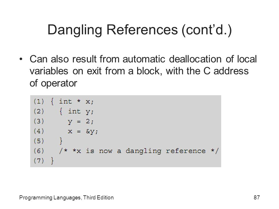 Dangling References (cont'd.)