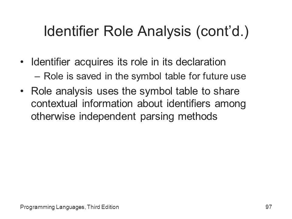 Identifier Role Analysis (cont'd.)