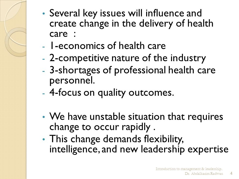 1-economics of health care 2-competitive nature of the industry