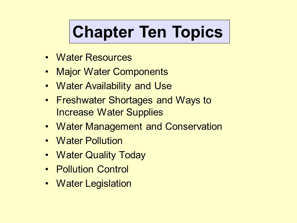 ESC110 Chapter Ten Water: Resources and Pollution - ppt ...