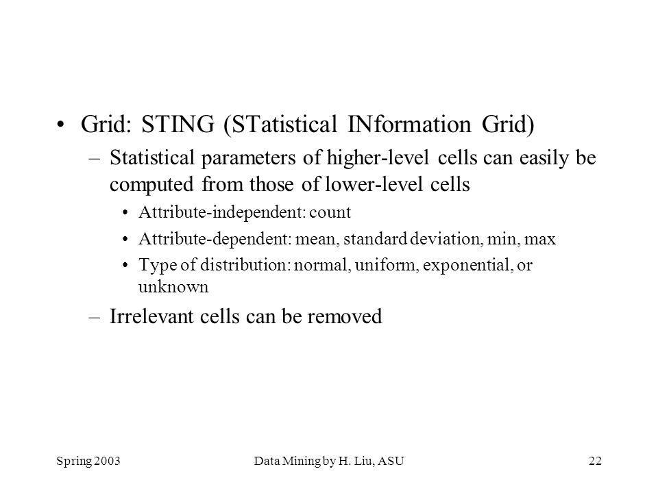 Grid: STING (STatistical INformation Grid)
